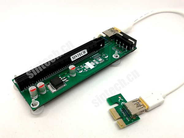 ST8019 PCI-E express X1 to X16 riser card with flexible cable