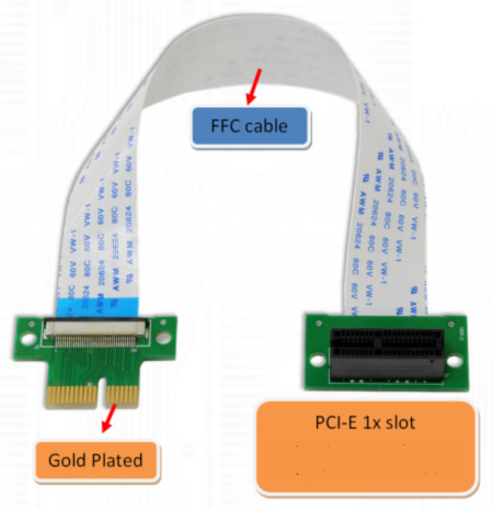 ST8015B PCI-E express X1 riser card with high speed flex cable