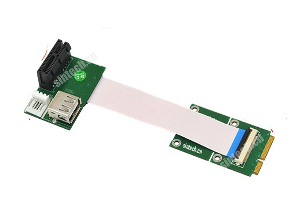 ST824 mini PCI-E to PCI-E express X1 riser card with high speed flex cable